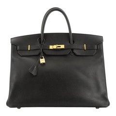 Birkin Handbag Noir Ardennes with Gold Hardware 40