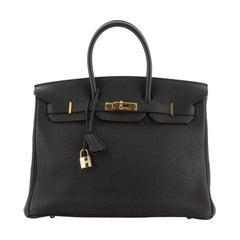 Birkin Handbag Noir Togo with Gold Hardware 35