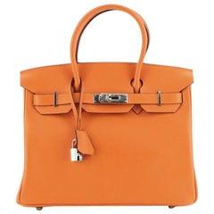 Birkin Handbag Orange H Swift with Palladium Hardware 30
