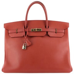 Birkin Handbag Red Ardennes with Gold Hardware 40