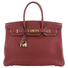 Birkin Handbag Rouge H Fjord with Gold Hardware 35
