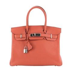 Birkin Handbag Rouge Pivoine Clemence with Palladium Hardware 30