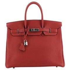 Birkin Handbag Rouge Vif Togo with Palladium Hardware 35