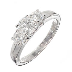 Birks .86 Carat Diamond Platinum Three-Stone Engagement Ring