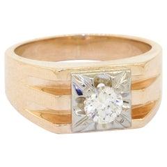 Birks Designer 14K Vintage 0.55CT VS1/F Diamond Solitaire Mens Ring