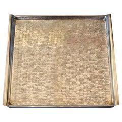 Birks Hollywood Regency Silver Plate Textured Rectangular Serving Tray America