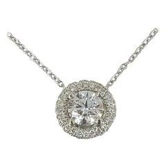Birks & Mayors Platinum Diamond Halo Solitaire Pendant Necklace