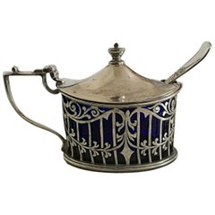 Birks Mustard Pot in Sterling Silver with Spoon in Silver Plate