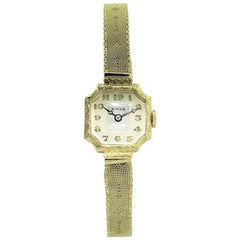 Birks of Canada 14 Karat Yellow Gold Art Deco Watch with Original Mesh Bracelet