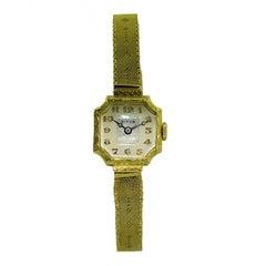 Birks of Canada 14 Karat Yellow Gold Art Deco Watch with Original Mesh Bracelet