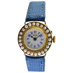 Birks of Canada Ladies Yellow Gold Pearl Bezel Dress Manual Watch, 1920s