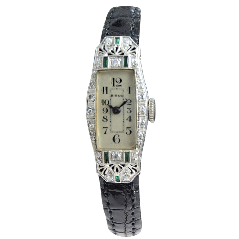 Birks of Canada Platinum Diamond Emerald Art Deco Ladies Watch, circa 1930s