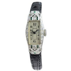 Birks of Canada Platinum Diamond Emerald Art Deco Ladies Watch, circa 1930s
