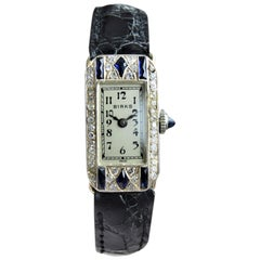 Birks of Canada Platinum Diamond Sapphire Art Deco Ladies Dress Watch