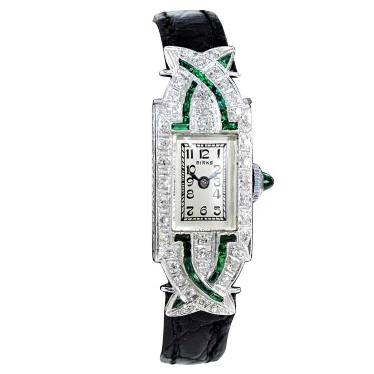 Birk's Platinum Diamond Emerald Art Deco Dress Watch, circa 1930's