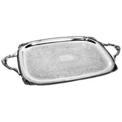 Birks Regency Silver Plated Serving Tray with Ornate Handles & Engraving