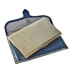 Birks Solid 9-Karat Yellow Gold Cigarette Case with Blue Outer Leather Envelope
