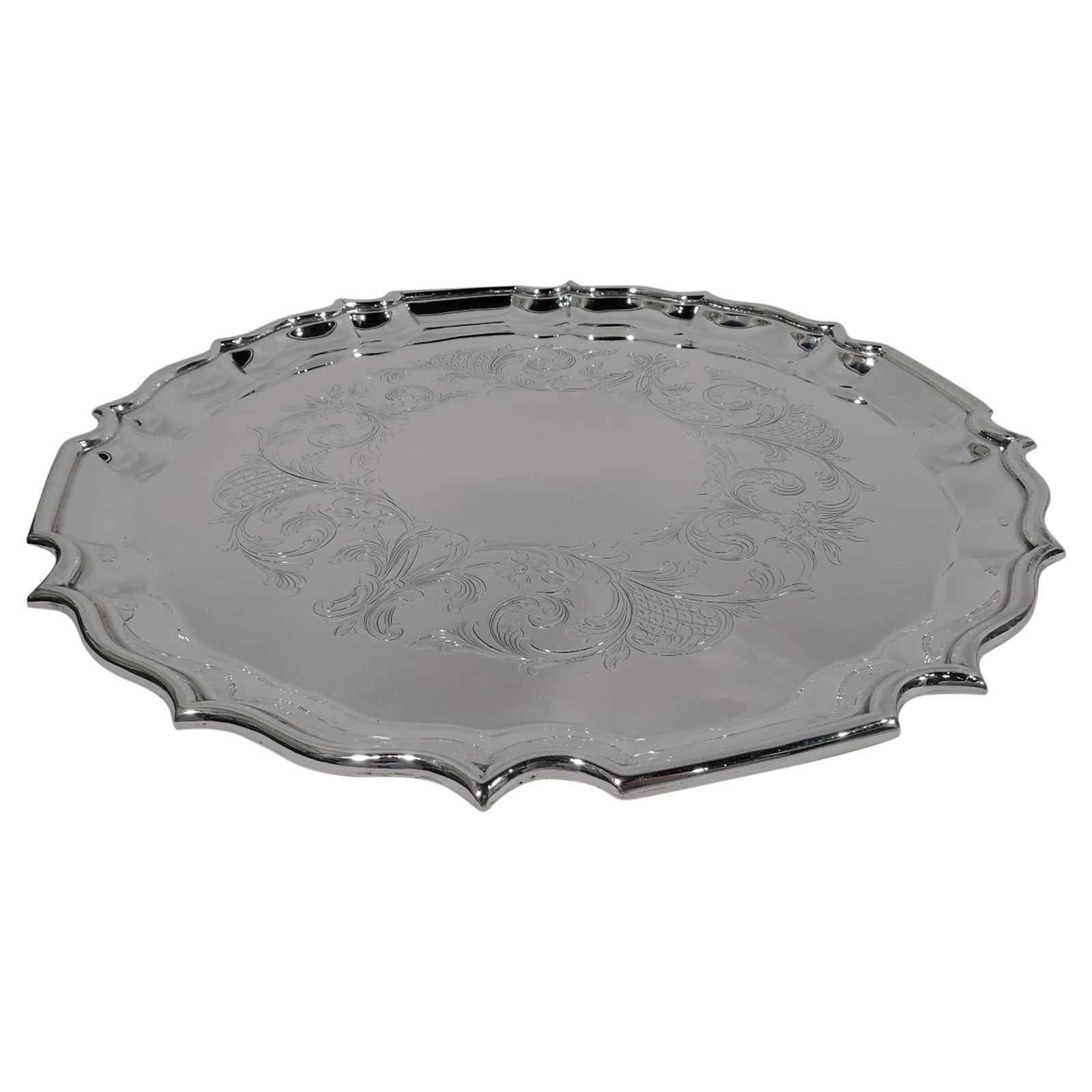 Birks Sterling Silver Tray with Georgian Piecrust Rim