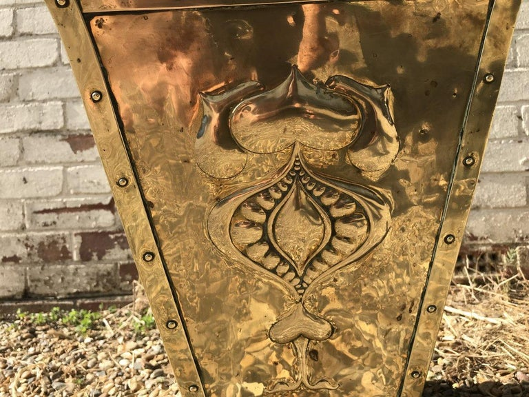 English Birmingham Guild of Handicraft, Art & Crafts, Brass Coal Bucket For Sale