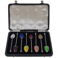 Birmingham Guild of Handicraft Sterling Silver and Guilloche Enamel Spoon Set