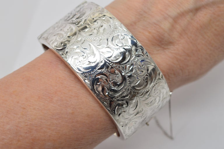 Birmingham Sterling Silver Engraved Wide Bangle Cuff Bracelet For Sale 7