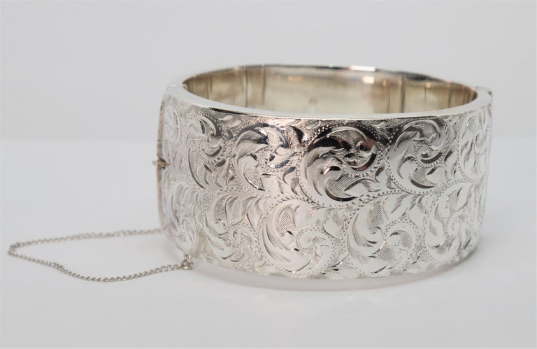 Birmingham Sterling Silver Engraved Wide Bangle Cuff Bracelet For Sale 8