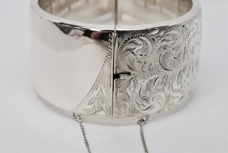 Birmingham Sterling Silver Engraved Wide Bangle Cuff Bracelet For Sale 9