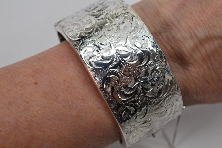 Birmingham Sterling Silver Engraved Wide Bangle Cuff Bracelet For Sale 10