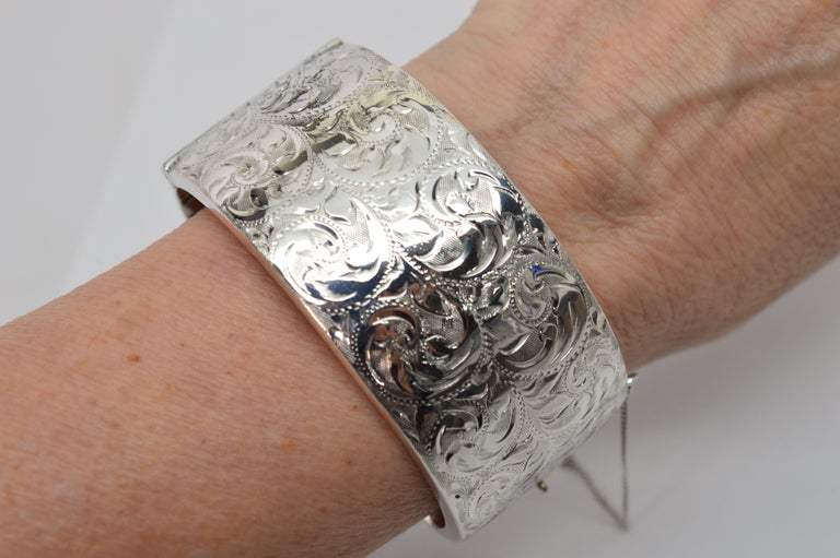 Birmingham Sterling Silver Engraved Wide Bangle Cuff Bracelet In Good Condition For Sale In Mount Kisco, NY