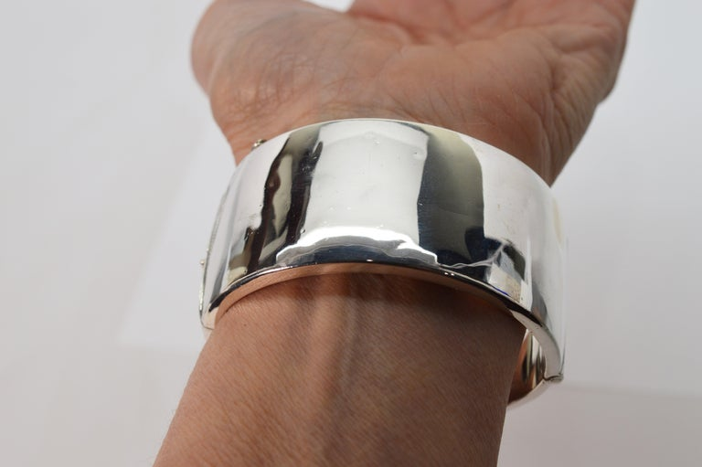Women's Birmingham Sterling Silver Engraved Wide Bangle Cuff Bracelet For Sale
