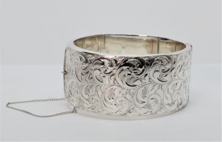 Birmingham Sterling Silver Engraved Wide Bangle Cuff Bracelet For Sale 1