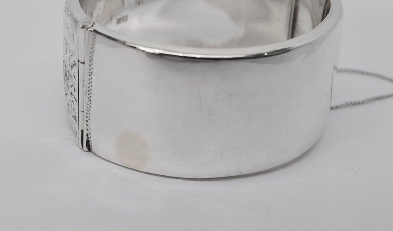Birmingham Sterling Silver Engraved Wide Bangle Cuff Bracelet For Sale 2