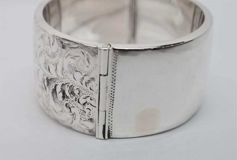 Birmingham Sterling Silver Engraved Wide Bangle Cuff Bracelet For Sale 3