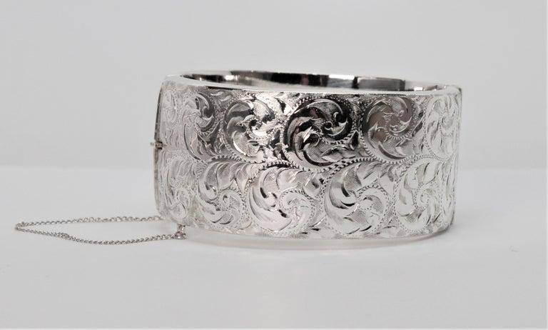 Birmingham Sterling Silver Engraved Wide Bangle Cuff Bracelet For Sale 4