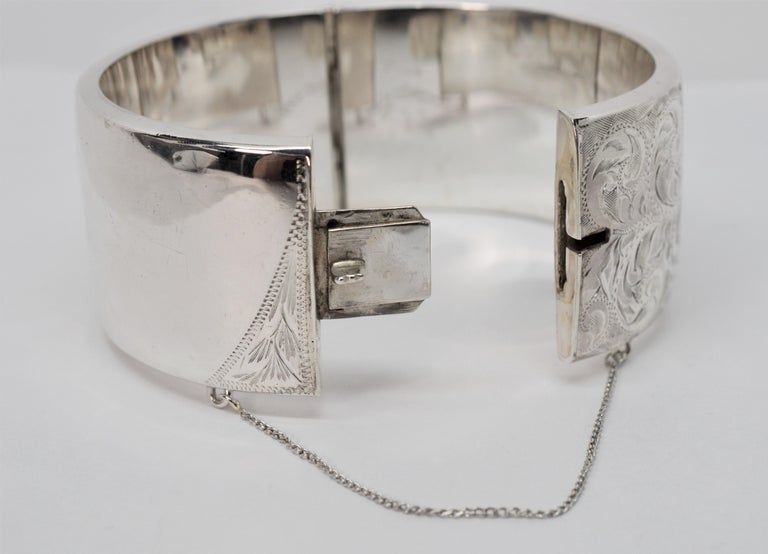 Birmingham Sterling Silver Engraved Wide Bangle Cuff Bracelet For Sale 5