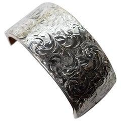 Birmingham Sterling Silver Engraved Wide Bangle Cuff Bracelet