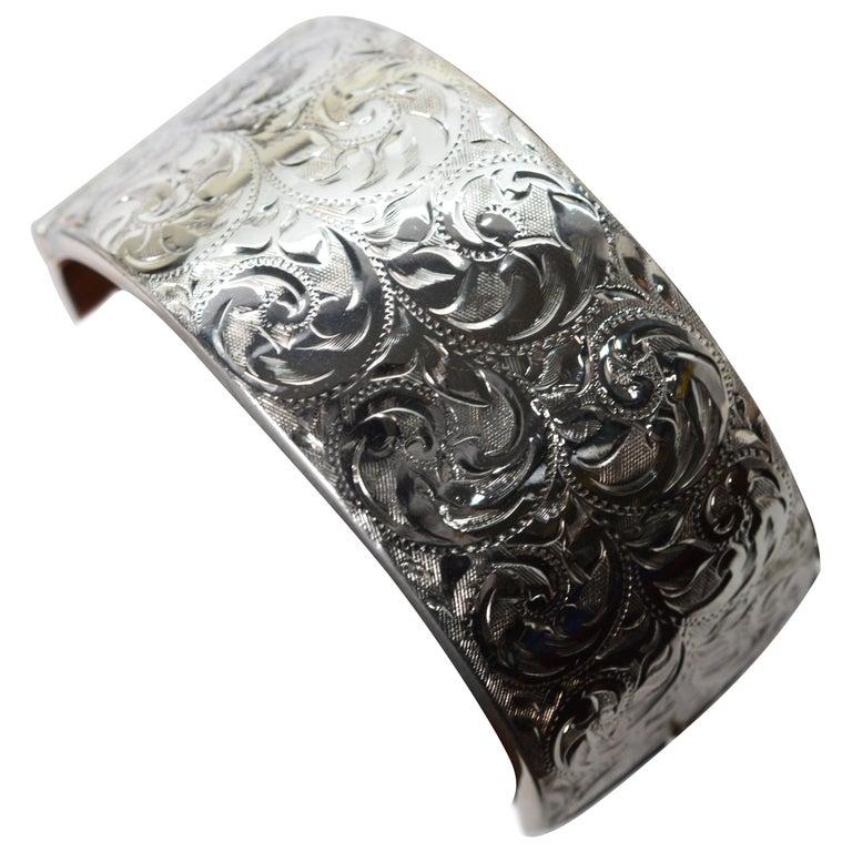 Birmingham Sterling Silver Engraved Wide Bangle Cuff Bracelet For Sale