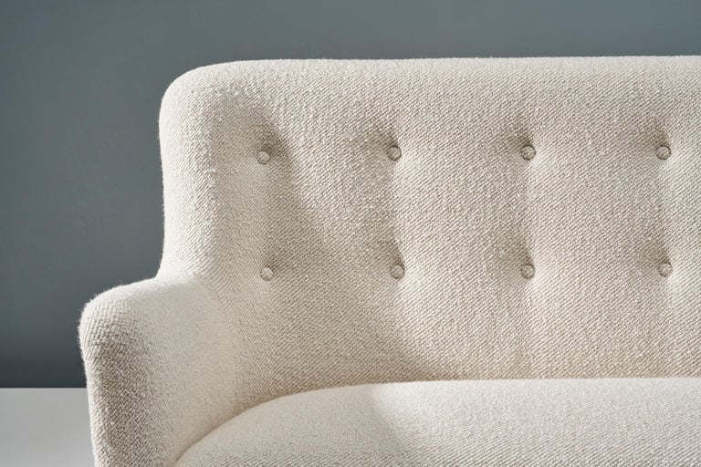 Birte Iversen 1940s Vintage Danish Boucle Sofa In Excellent Condition For Sale In London, GB