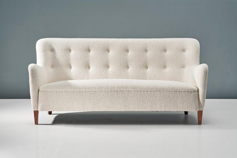 Bouclé Birte Iversen 1940s Vintage Danish Boucle Sofa For Sale