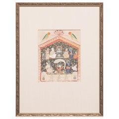 """Birth of Lord Krishna"" 19th Century Indian Mughal Miniature Painting"
