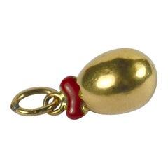 Birth of Love Gold Enamel Egg Heart Charm Pendant