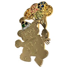 Birthday Bear Brooch in 14k Yellow Gold with Diamonds and Colored Stones