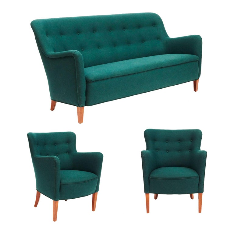 Birthe Iversen Living Room Set Including a Sofa and Two Easy Chairs For Sale