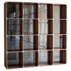 BIS Bookshelf in Cherry Tree Veneer and Brown Glass by Benjamin Ossa-MOB Project