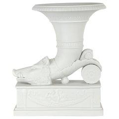 Biscuit 'Bisque' Porcelain Rhyton Vase, Late 19th Century