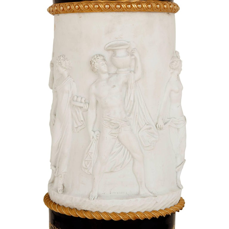 Rococo Biscuit Porcelain and Gilt Bronze Mounted Pedestal by Samson For Sale