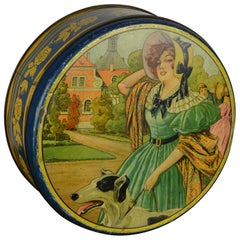 Biscuit Tin Box with Lady and Greyhound Dod, Art Deco Period
