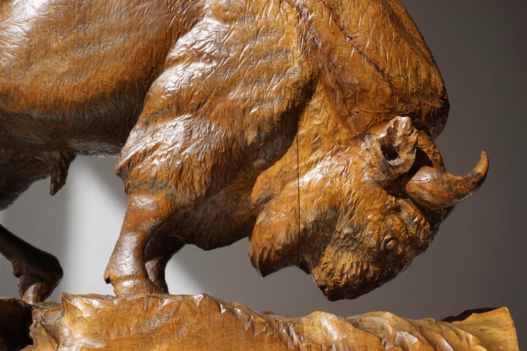 Bison Sculpture in Wood For Sale 5