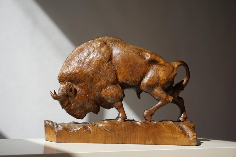 Bison Sculpture in Wood For Sale 12