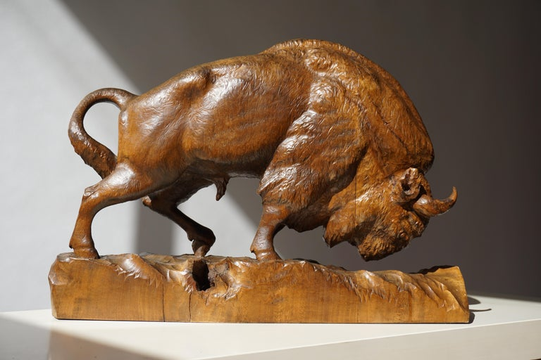 Polish Bison Sculpture in Wood For Sale